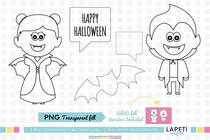Halloween digital stamp, printable png for card making