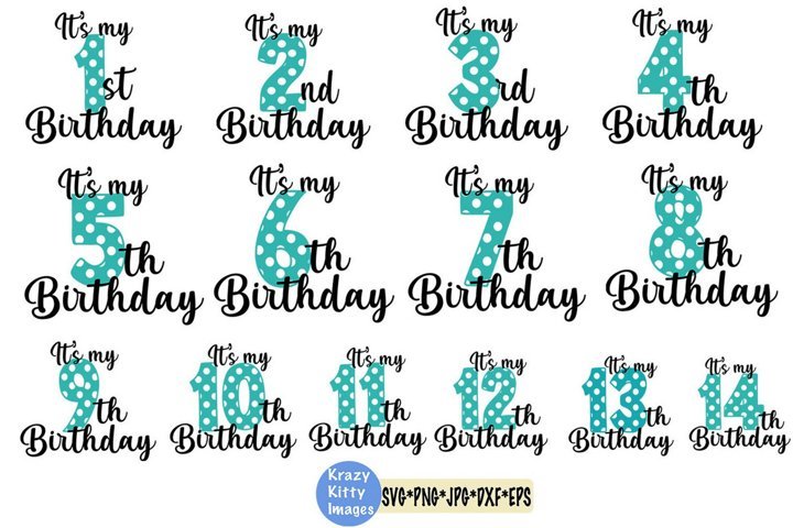 birthday svg bundle, 1st birthday, 2nd birthday, 3rd, 4th