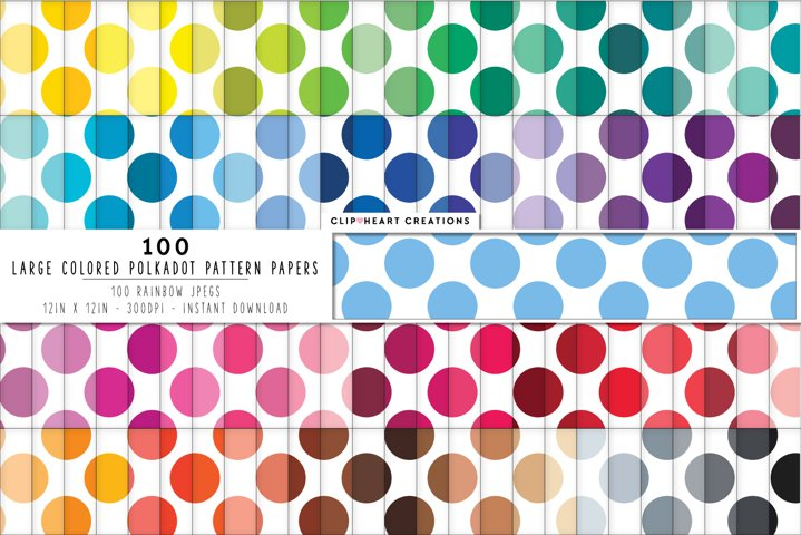 100 Color Polka dot Pattern Digital Papers - rainbow colors