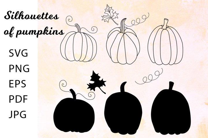 Silhouettes of pumpkins. Pumpkins svg cute. Pumpkins png.