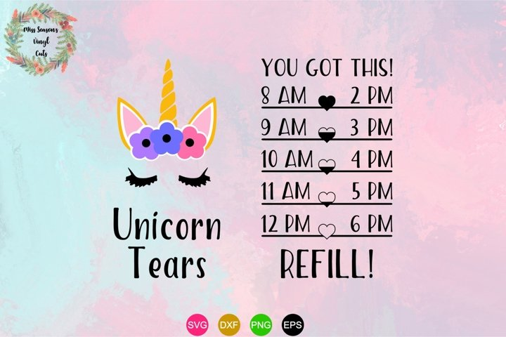 Unicorn Tears SVG Unicorn Water Bottle SVG, DXF, Eps, Png