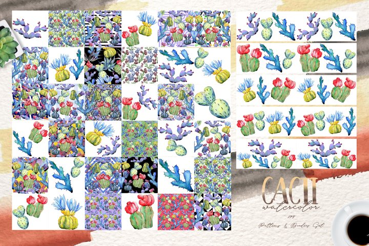Cool colorful cacti PNG watercolor set example 6