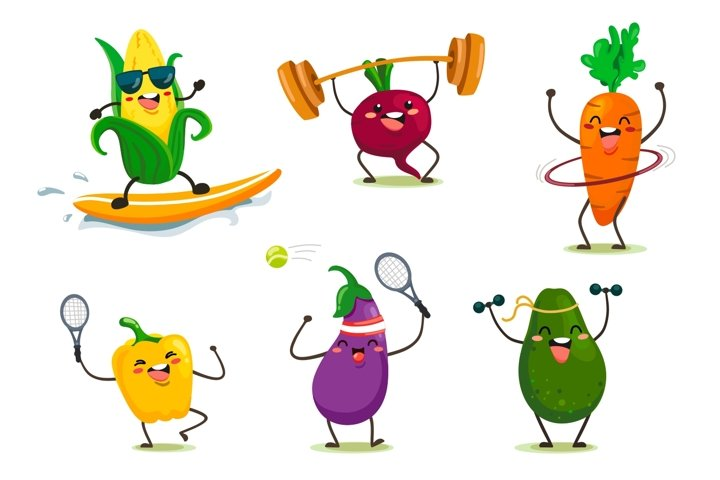 Cute cartoon vegetables, barbecue, sport.