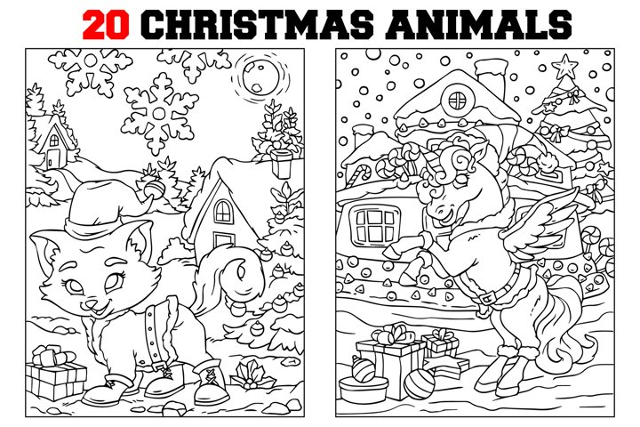 Coloring Pages For Kids - 15 Christmas Animals Pages