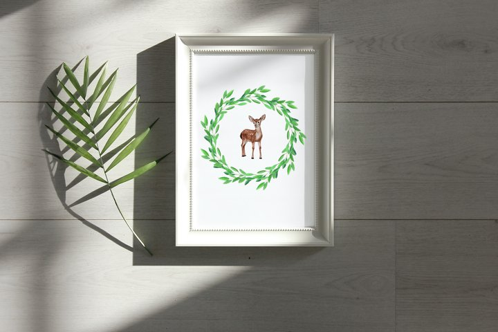 Baby Deer Watercolor Clipart - 3 PNG sublimation files example 1