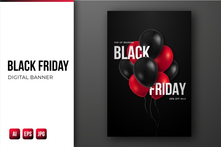 Black Friday Sale flyer with glossy red and black balloons.