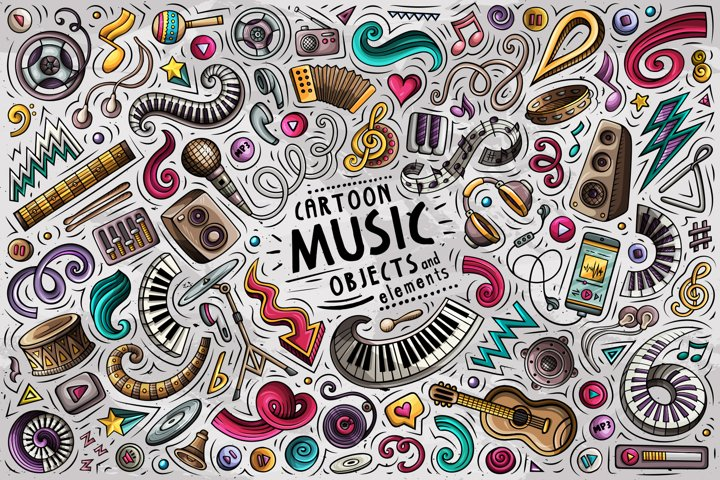 Music Cartoon Objects Set