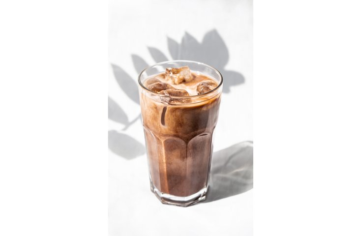 Milk cream iced coffee. Coffee cold drink cocktail