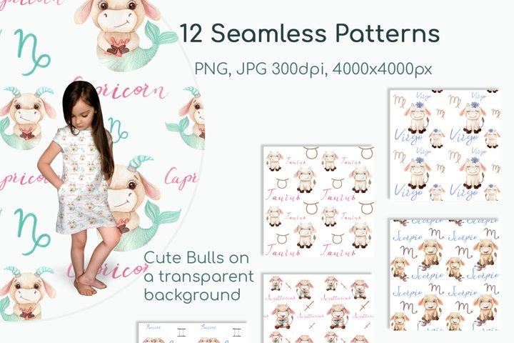 Watercolor Bulls Zodiac 2021 example 6
