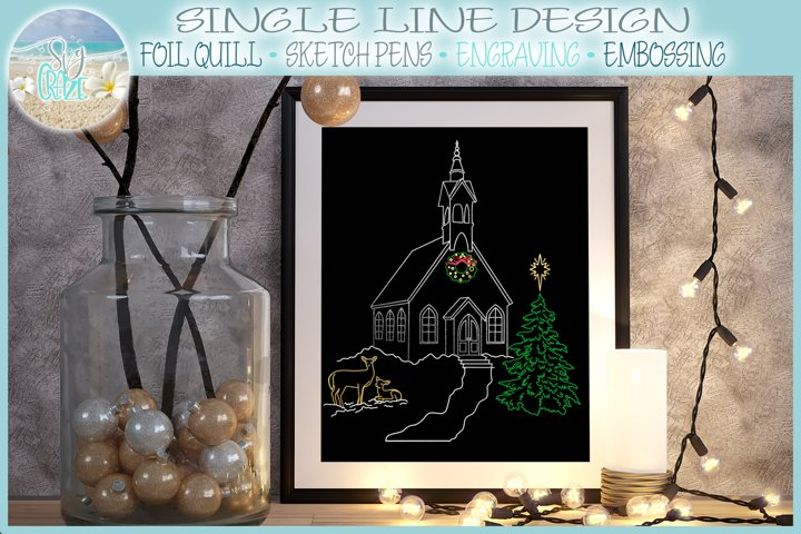 Christmas Church With Deer and Pine Tree Foil Quill SVG