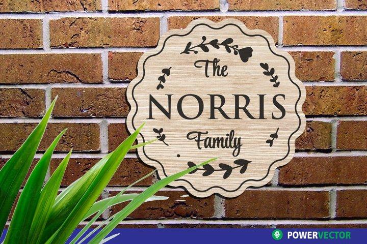 Wedding Monogram SVG | Family Name Wreath Sign Laser File