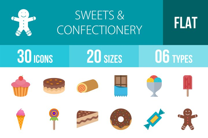30 Sweets & Confectionery Flat Multicolor Icons Season II
