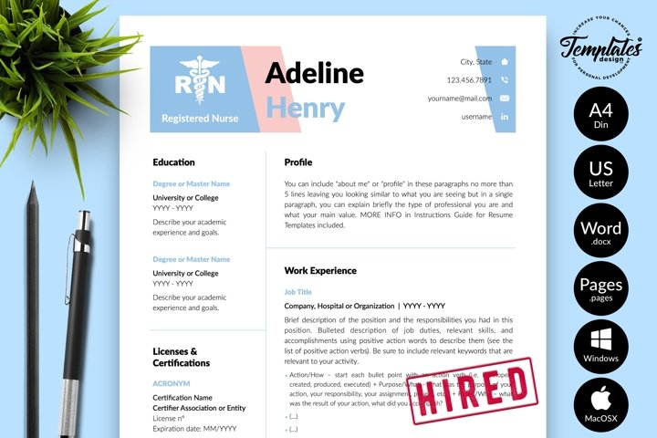 Nurse Resume CV Template for Word & Pages Adeline Henry