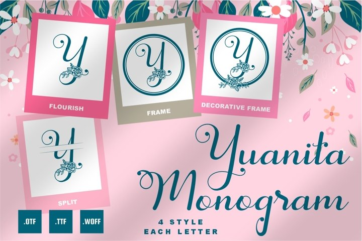 Yuanita Monogram Font - 4 Style Monogram