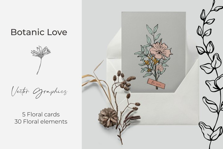 Vector floral greeting cards with love. Floral elemets