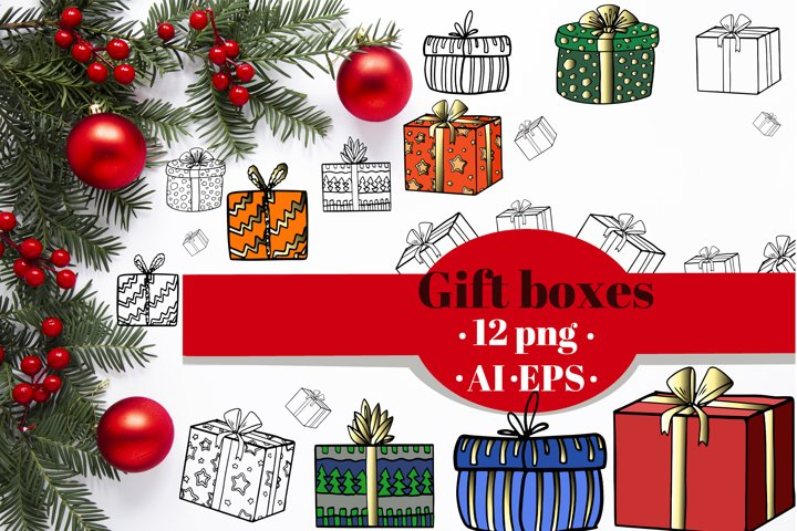 Gift boxes clipart. Colorful & Outline set of present boxes.
