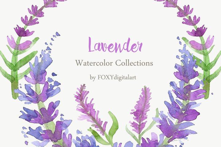 Watercolor Lavender Clipart Collection