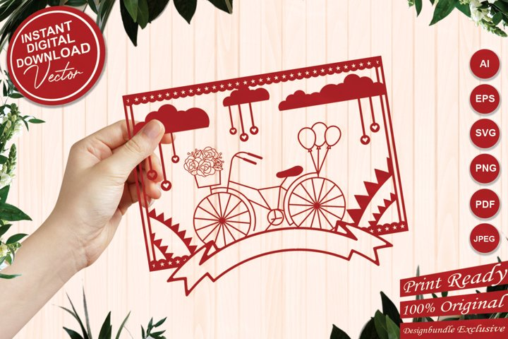 Vintage Bicycle Floral SVG with Clouds and Tag Ribbon