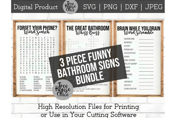 Funny Bathroom Signs Bundle, Forget Phone Word Search SVG