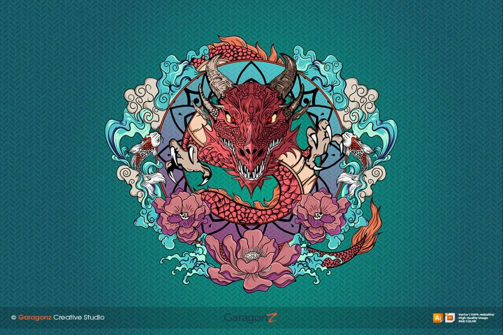 Hand drawn dragon vector full color