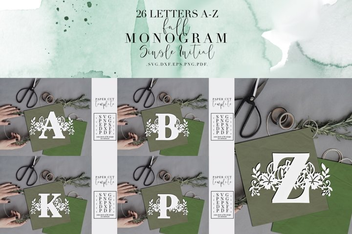 Bundle Of 26 A-Z Fall Monogram Paper Cut Template, SVG DXF
