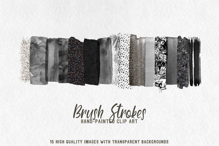 15 brush strokes clipart black