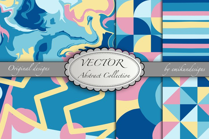 Seamless marbleized and abstract vector collection
