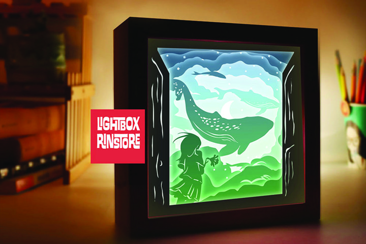 127 whale on the sky, 3d paper cut lightbox template