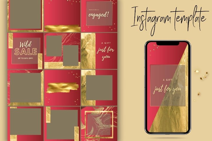 Red and Gold Instagram Template