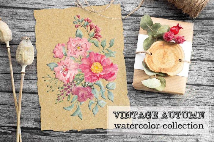 Vintage autumn watercolor floral collection