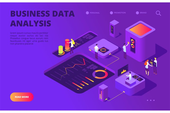 Data analysis isometric concept. People work on infographic