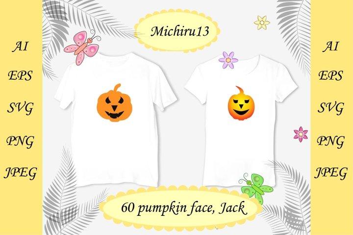 60 Halloween decoration Jack-o-Lantern silhouette set,bundle