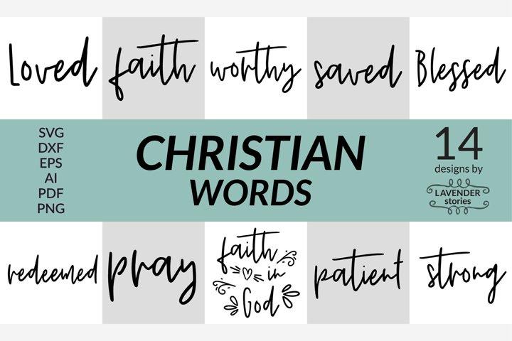Christian words SVG bundle - 14 designs