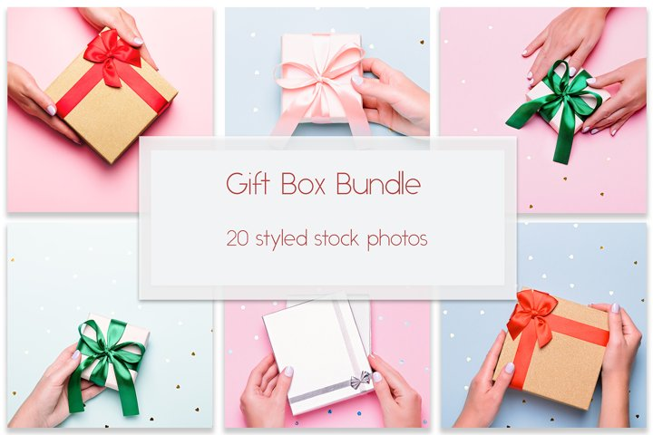 Gift Box Bundle on pastel background