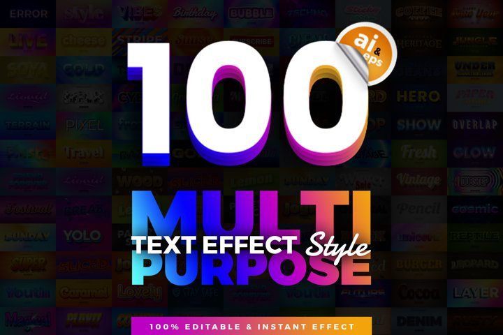 100 in 1 Bundle Multipurpose Text Effect Style