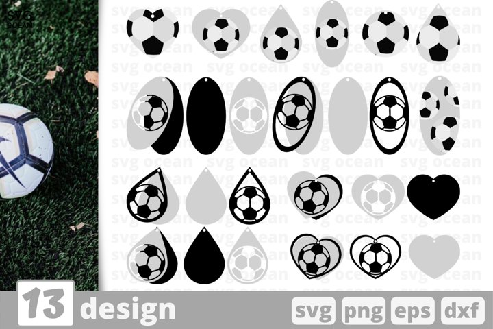 13 SOCCER EARRINGS SVG BUNDLE | Earrings template svg