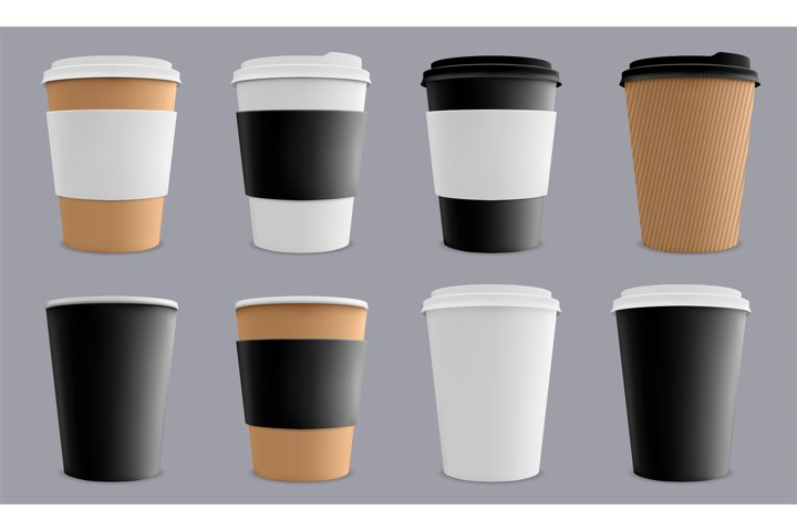 Realistic coffee cup. Paper cardboard coffee cups