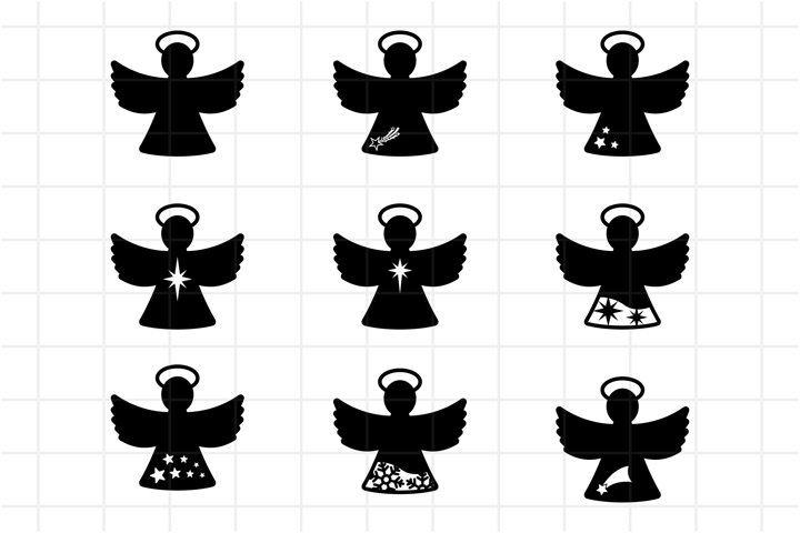 Christmas angel SVG, Angel cut file, Clipart, PNG.