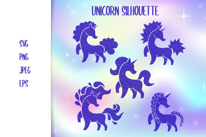 Unicorn set silhouette