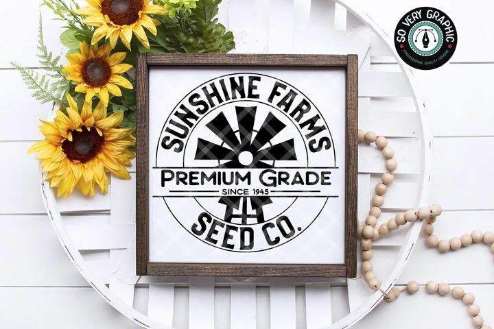 Sunshine Farms Seed Co Windmill Farmhouse Sign SVG Design