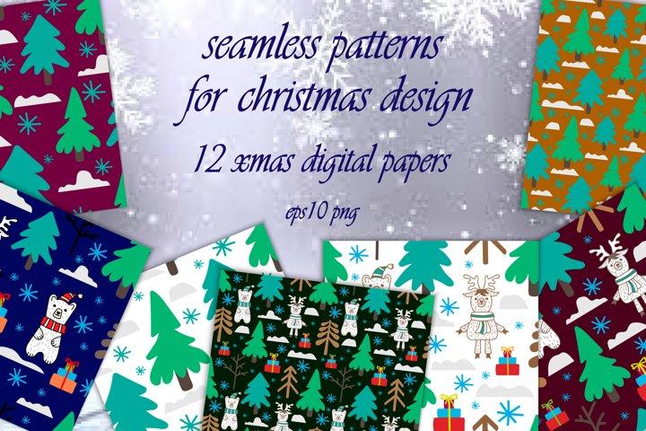 Xmas seamless digital paper. Print collection