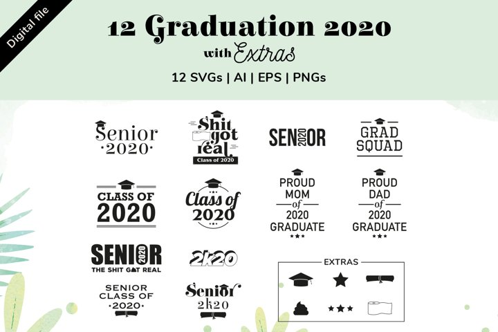 Graduation 2020 SVGs, AI, EPS, PNGs