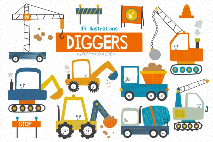 Diggers clipart and paper set