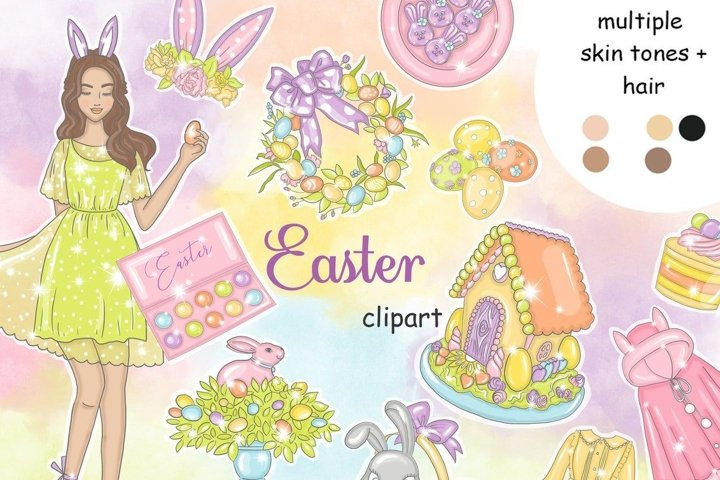 Easter CLIPART Cute Bunny Eggs Bunnies Rabbits Stickers PNG