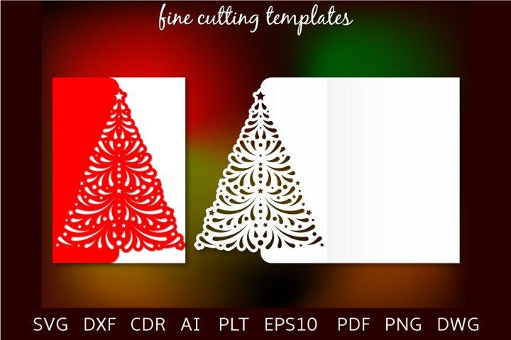 Christmas tree fold card 5x7 cutting template SVG