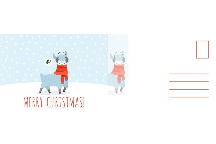 Merry Christmas card. Happy new year postcard with llama in