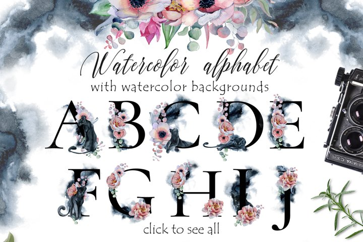 Panthers Alphabet ClipArt with watercolor backgrounds
