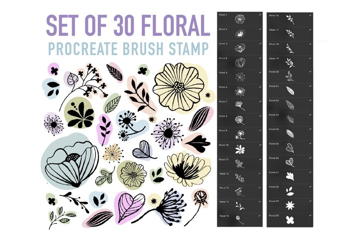 Floral Stamps Brushes for Procreate