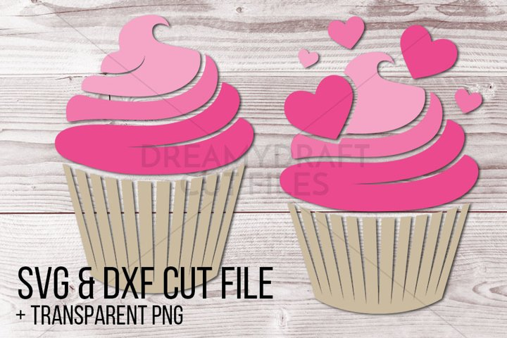 Cupcake with hearts clip art | SVG & DXF cut files