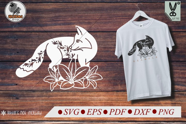 Fox SVG, animal silhouette, cute fox with flower